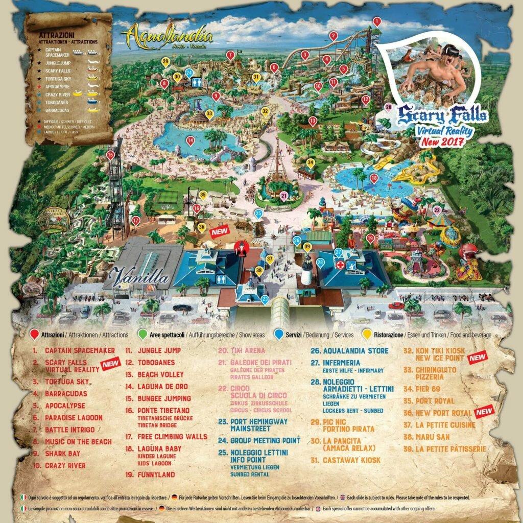 Схема парка акваландия в Лидо ди Езоло
