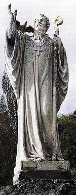 Статуя Колумбана при въезде в Боббио