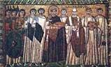 Торжественный выход императора Юстиниана. Мозаика в церкви Сан-Витале.