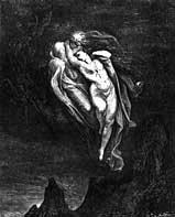 Гюстав Доре. Паоло и Франческа. Иллюстрация к «Божественной комедии» Данте Алигьери. 1860-е гг.