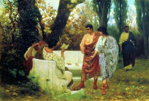 Римский поэт Катулл, читающий друзьям свои произведения. (БАКАЛОВИЧ С.В., 1885)